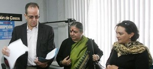 Three of the plaintiffs of the historic suit: Alberto Acosta, Vandana Shiva and EJOLT Collaborator, Ivonne Yanez from Oilwatc-Accion Ecologica